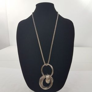 Silver Tone Mesh Necklace Round Statement Long Geo